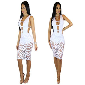 Sexy Sleeveless/Mesh Cutout Bodycon Dress