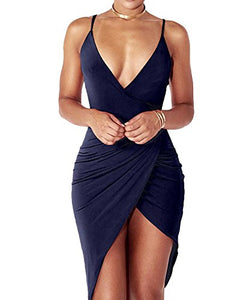 Sexy Deep V Neck Spaghetti Strap Bodycon Wrap Dress