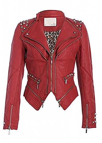 Pretty Attitude Rocking Cool Red Studded Punk Style PU Faux Leather Slim Fit Moto Jacket (X-Large)