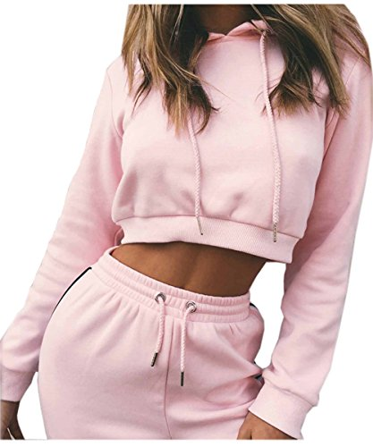 Akery Womens Sports Suit Pullover Hoodie Sweat Pants Set Tracksuit