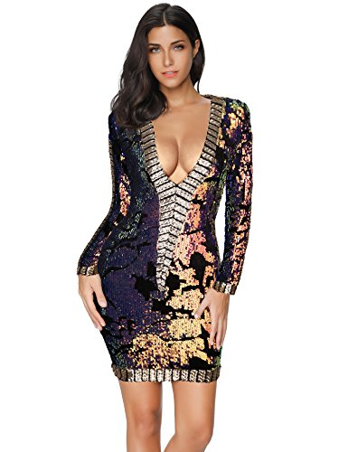 Long Sleeve Sequin Party Bodycon Dress (Colorblock)