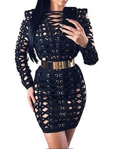 Lace Up Hollow Out Clubwear Bodycon Bandage Dress
