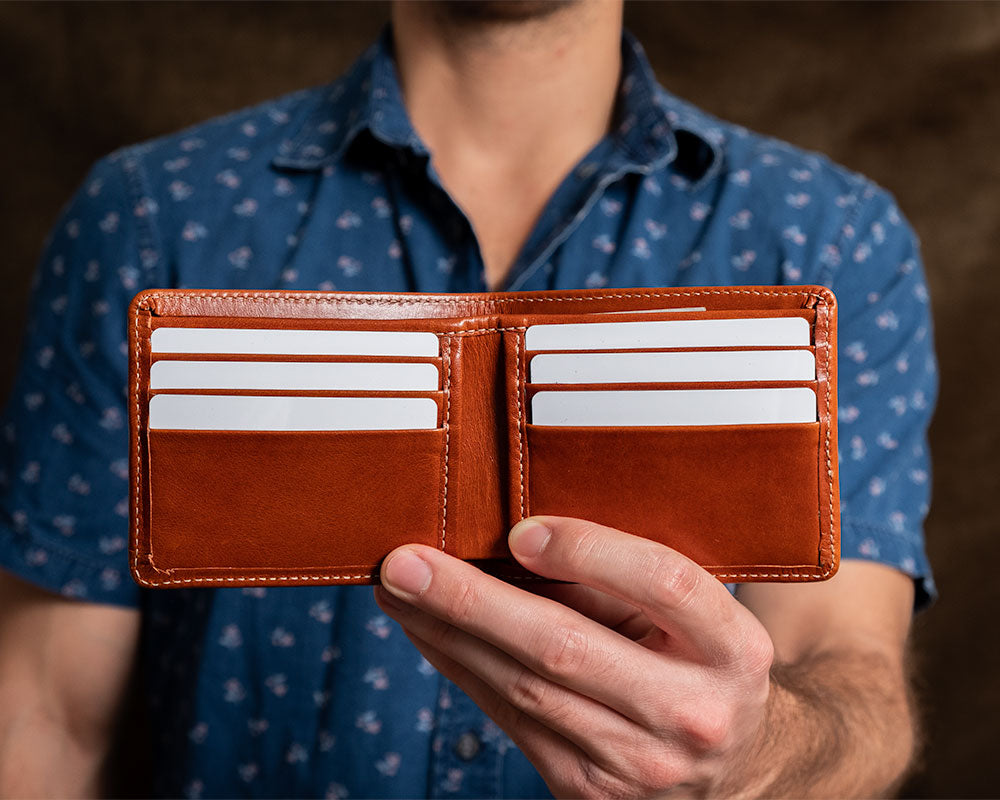 Leather billfold for men