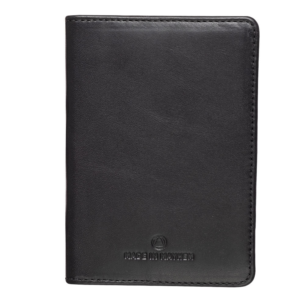 Black leather passport cover for women