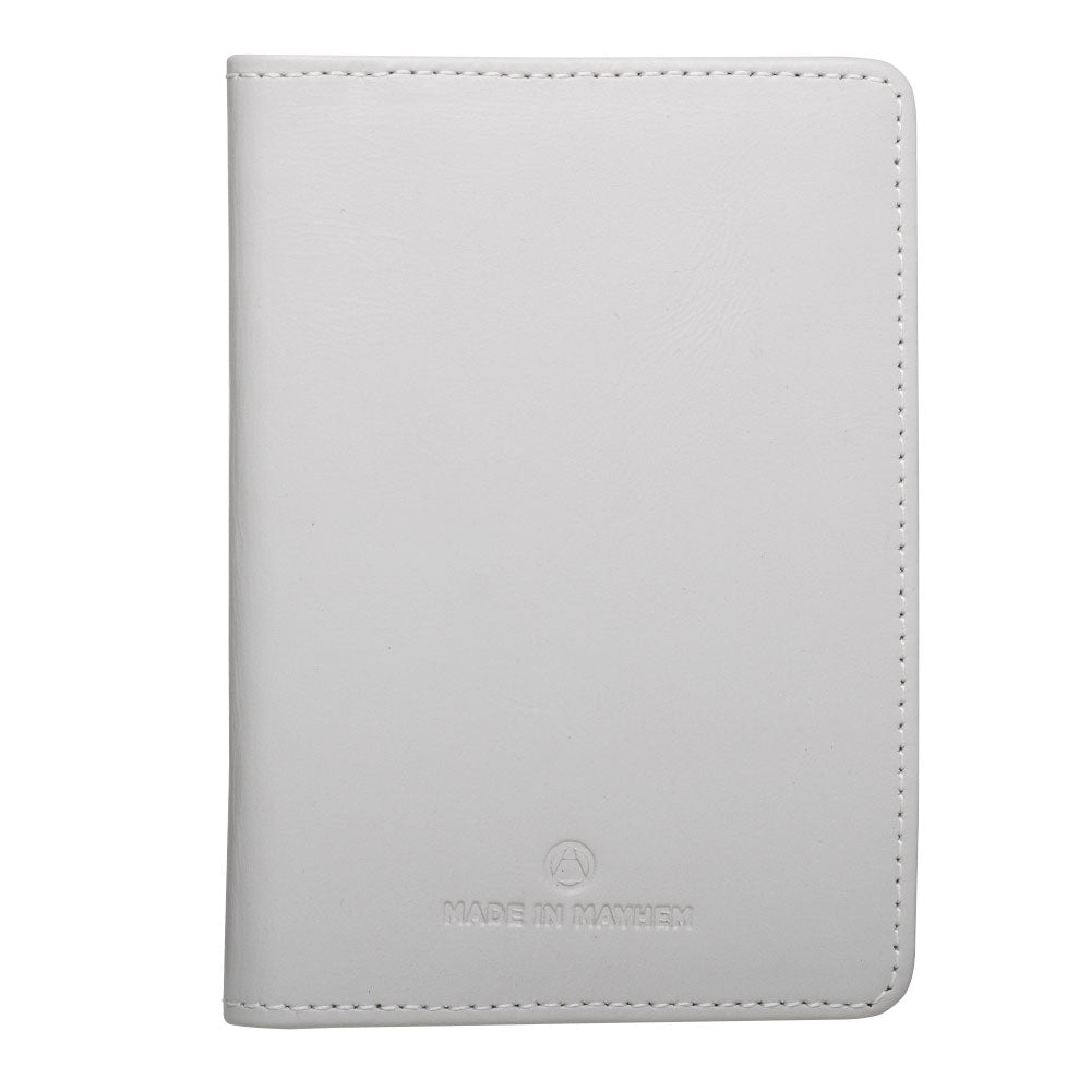 white leather passport cover