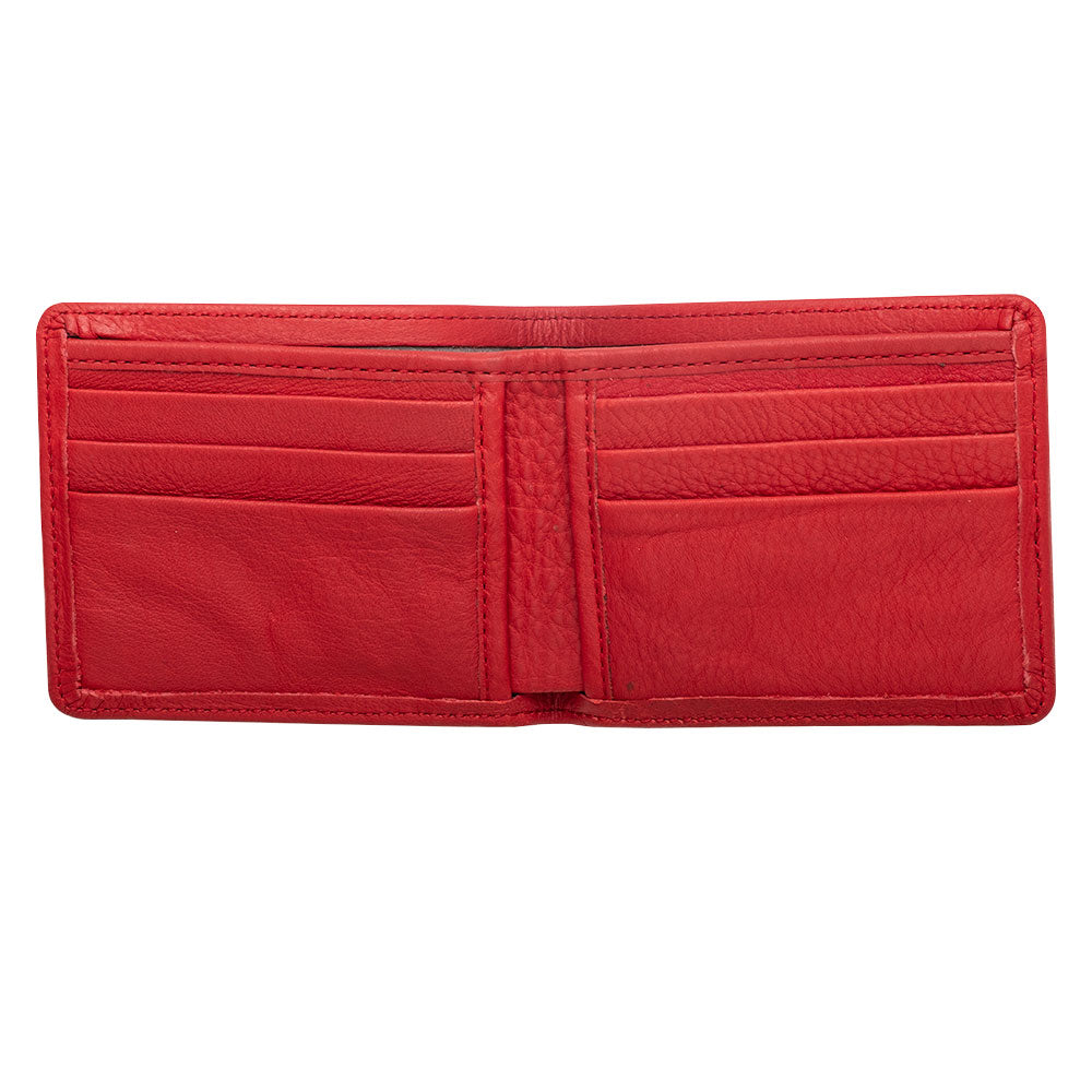 red billfold leather wallet for men