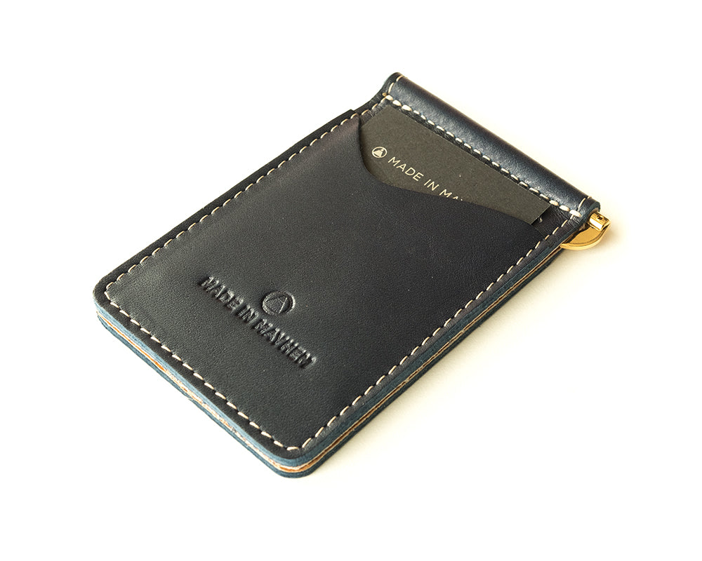 Blue leather money clip wallet for men, made in USA