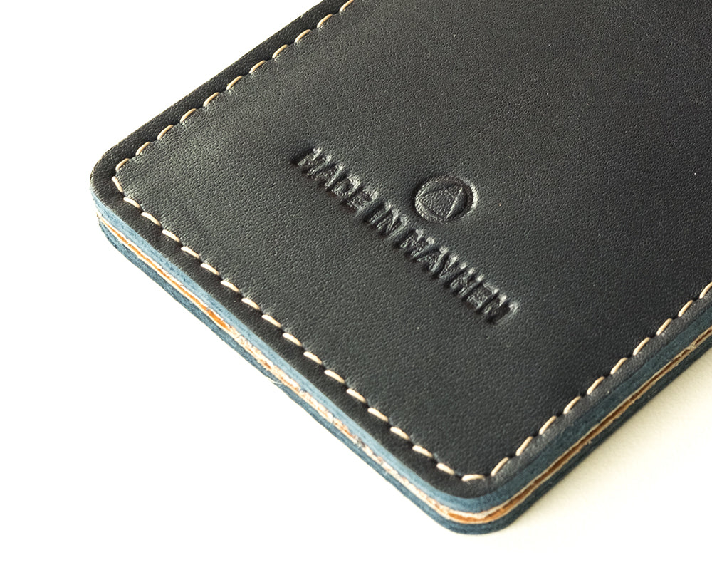 Navy blue leather wallet for men with money clip