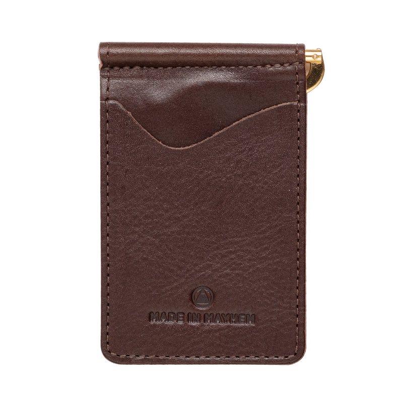 brown leather wallet with money clip for men