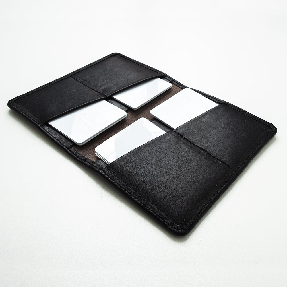 Black leather passport wallet for men