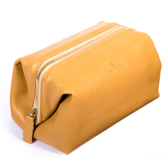 Camel leather dopp kit bag