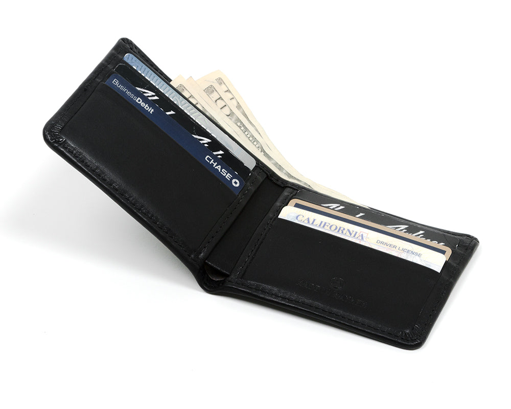 Large Black leather Bill fold wallet for men
