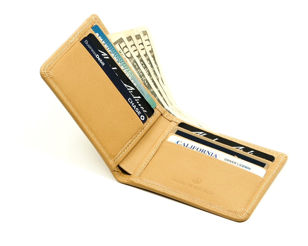Sand color large bifold wallet for men, Made in USA.