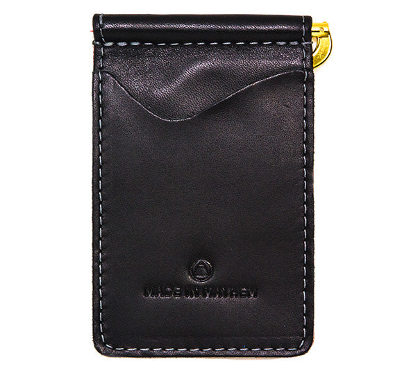 Black leather money clip wallet with card and cash compartments. Black Italian leather money clip for men. Made in USA by Made in Mayhem