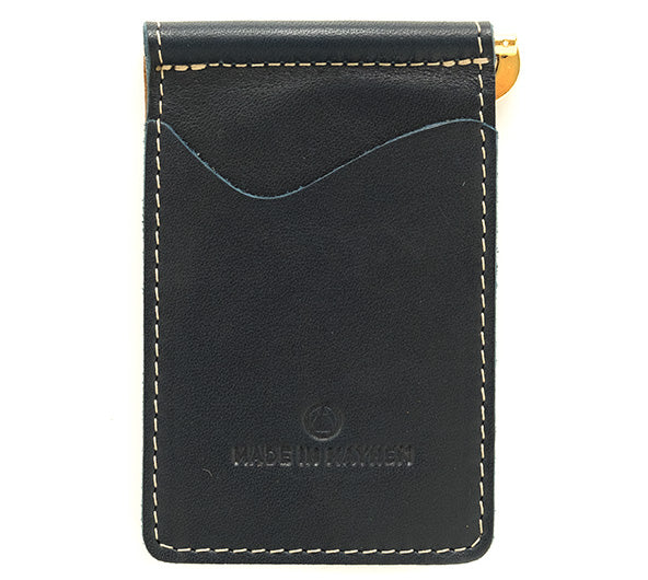 Italian leather wallet with internal money clip for cash. Made in USA by Made in Mayhem
