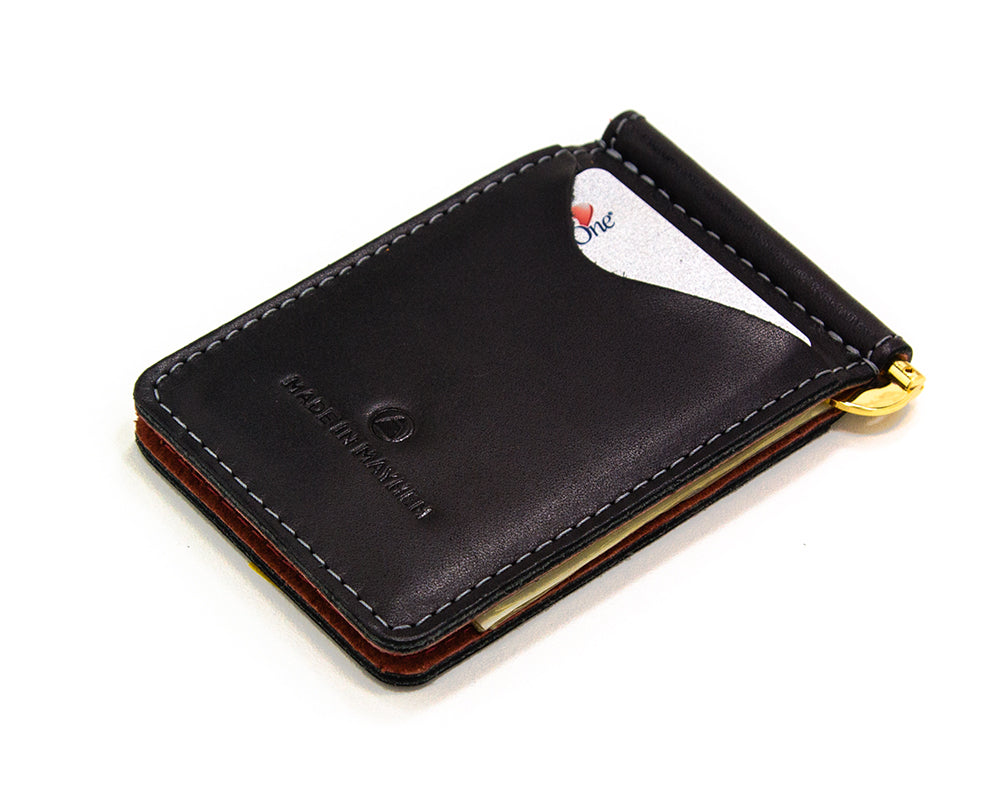 Thin wallet for men with cash money clip inside. Compact front pocket wallet made in USA by Made In Mayhem