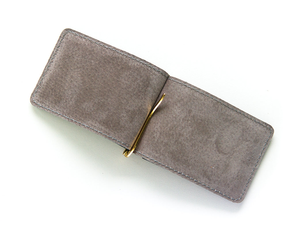 Navy blue leather money clip wallet made in USA by Made in Mayhem