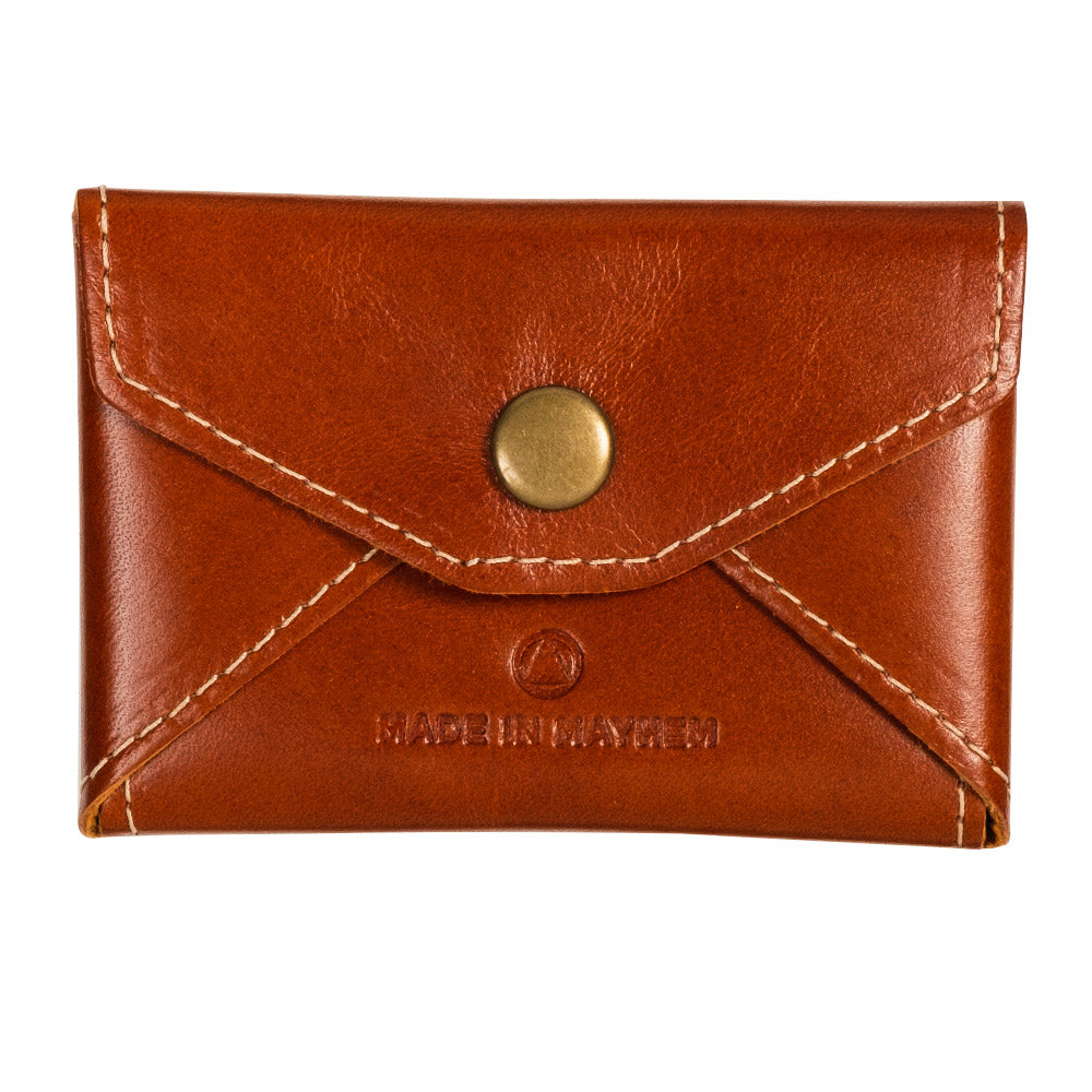 Brown leather business card case for women