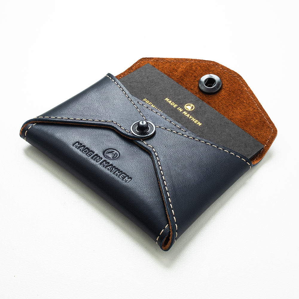 Navy leather wallet for men