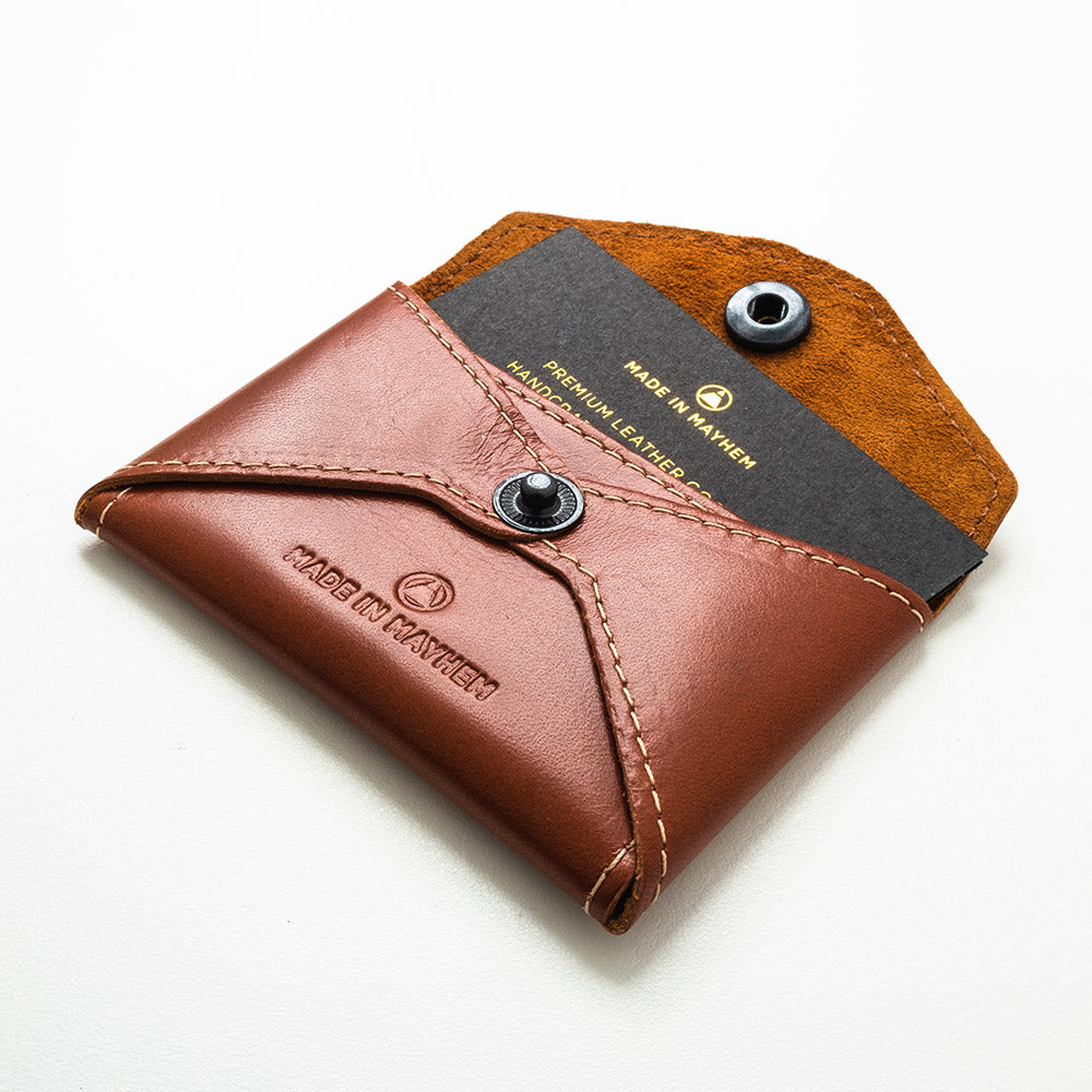 Brown leather business card holder for men
