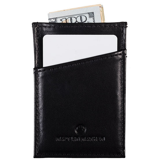 Compact black leather wallet for men.