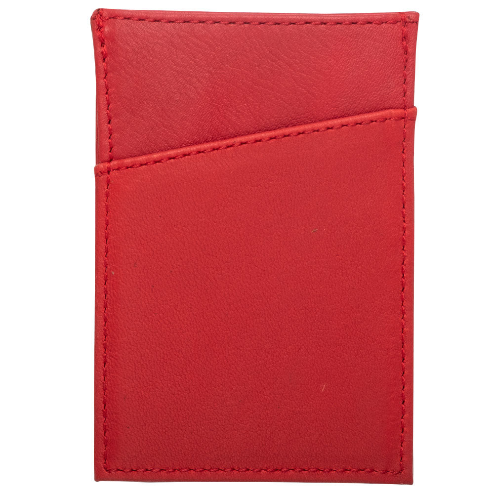 Red leather compact wallet for men