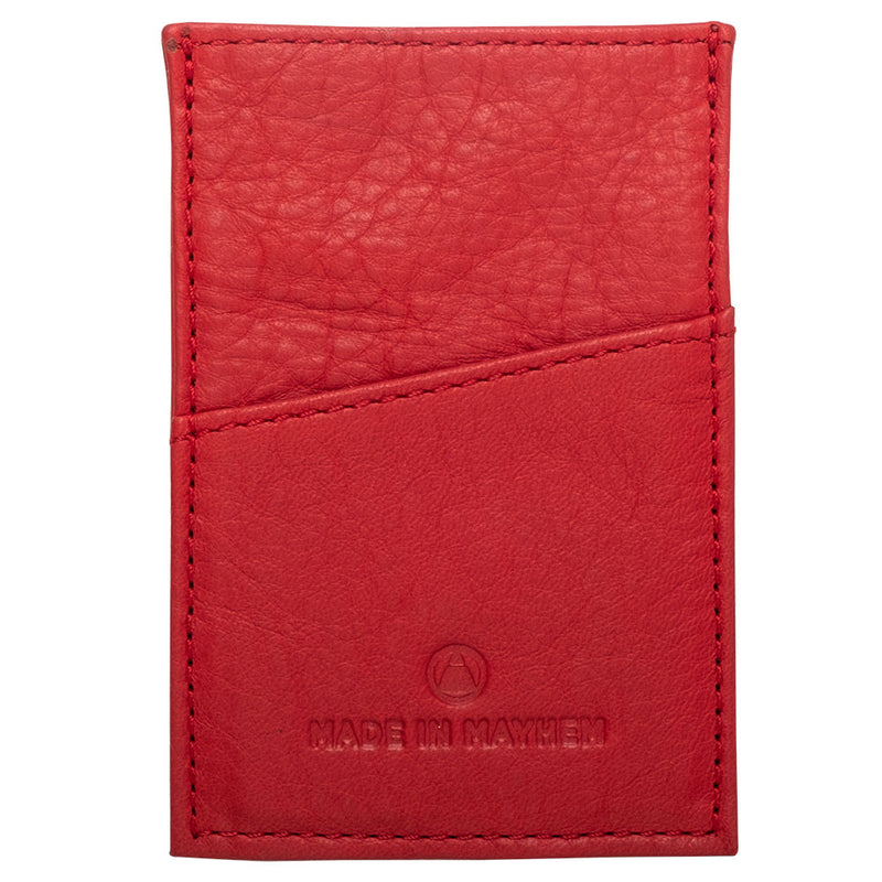 Red leather wallet for minimalist men