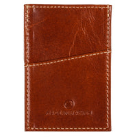 Brown leather minimalist wallet for men