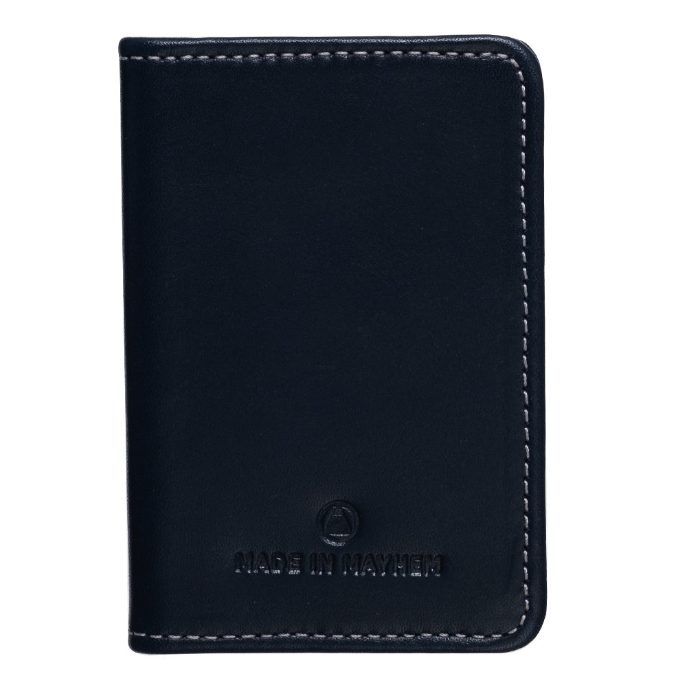 Blue leather bifold wallet for men