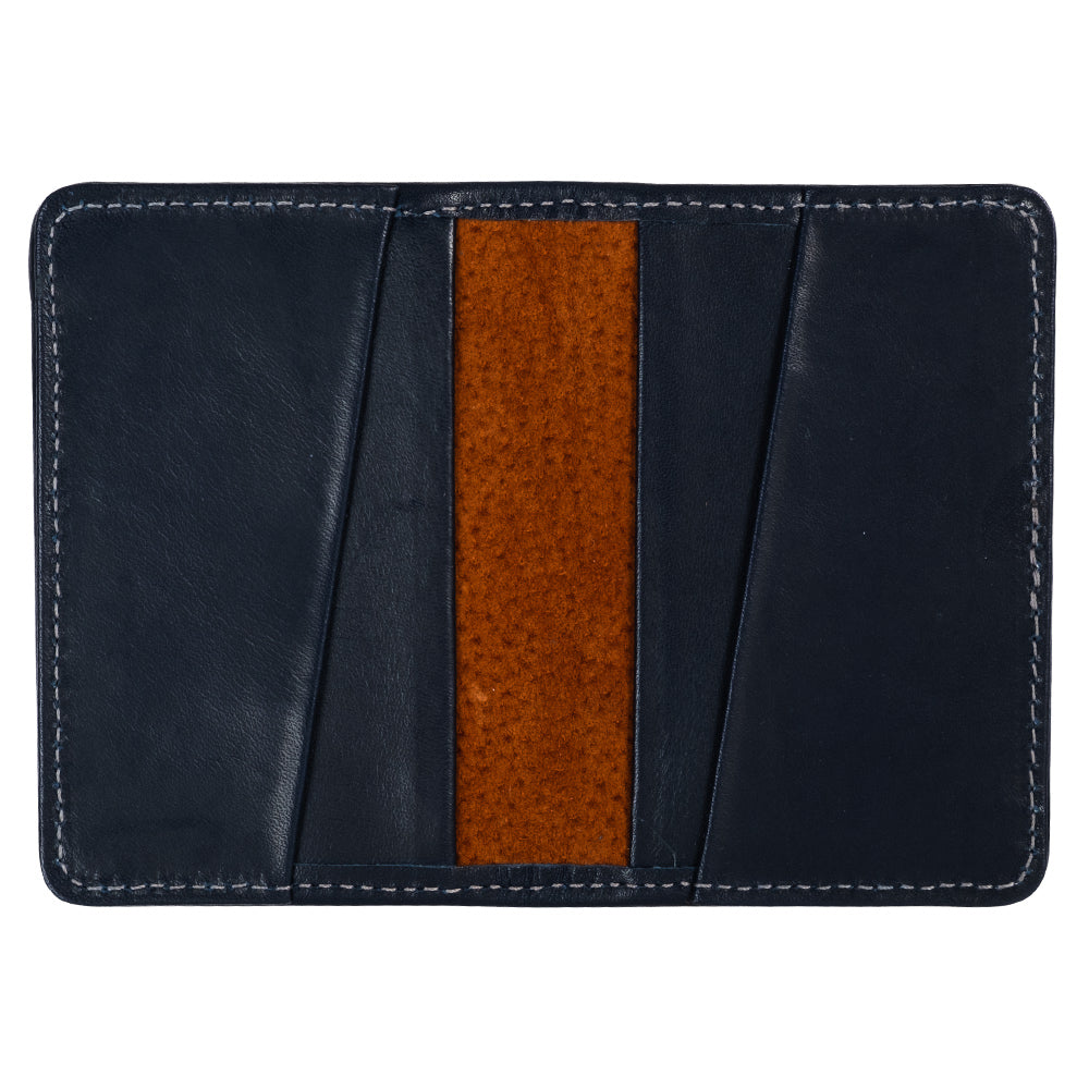 Compact blue leather wallet for minimalist