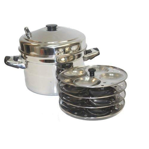 TABAKH IC-205 5-Rack Stainless Steel Idli Cooker with Strong Handles,Silver,Medium