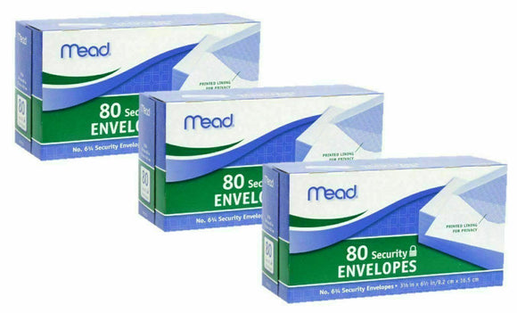 3 Mead Security Envelopes #6 3/4, White, 80ct (3 Pack)