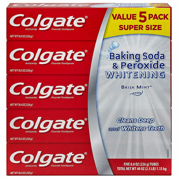 5 Pack-Colgate Baking Soda and Peroxide Whitening Toothpaste 8 Oz.