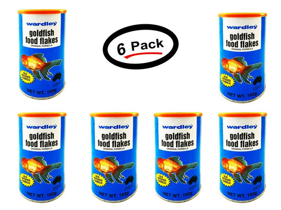 6 Pack Wardley Goldfish Flakes Food 6.8 Oz. Original Formula