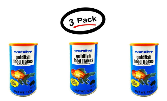 3 Pack Wardley Goldfish Flakes Food 6.8 Oz. Original Formula