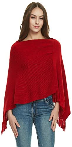 Women's Soft Knit Poncho Sweater Elegant Fringe Cape Shawl in Multi-Way Neck Style