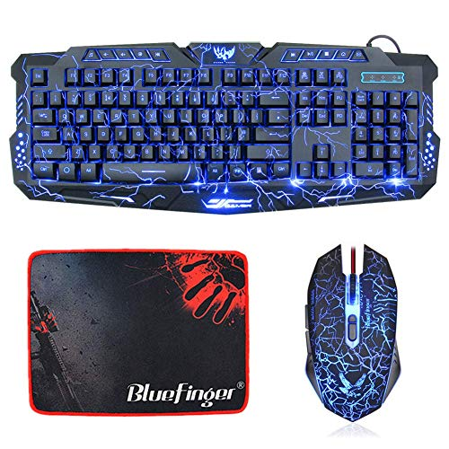 Backlit Crack Gaming Keyboard and Mouse Combo,BlueFinger 3 Color LED Backlit 114 Keys Letters Glow USB Wired Keyboard,Gaming Mouse with Mousepad for Computer Gamer Office