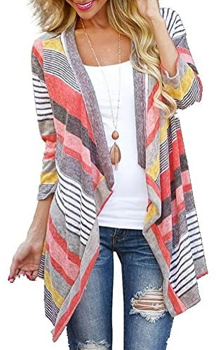 Women's Striped Printed Open Front Draped Kimono Loose Cardigan Red X-Large
