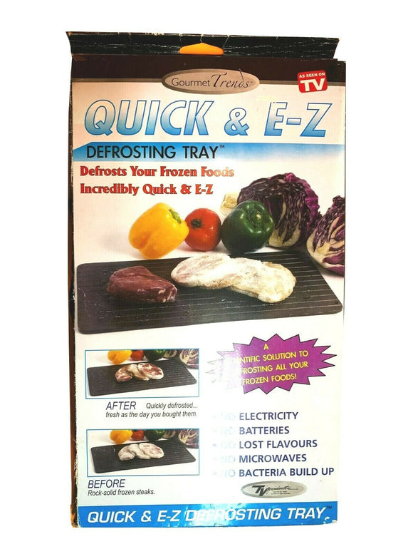 1 Quick & EZ Defrosting Tray for Frozen Food Thawing Safest Board Black