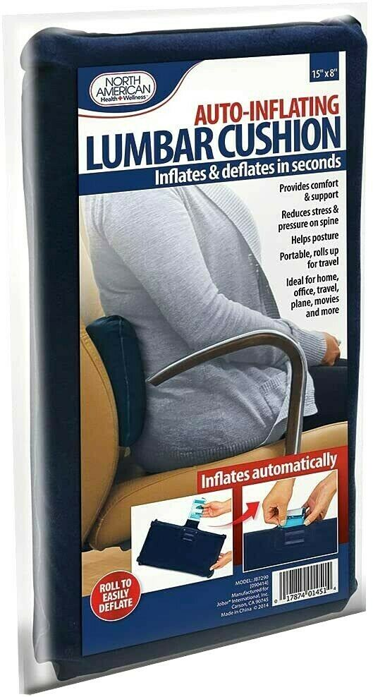 Auto Inflating Lumbar Back Support Cushion- Deflates In Seconds