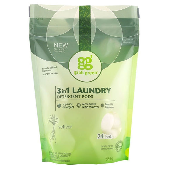 Grab Green 3-in-1 Laundry Detergent Vetiver Pre-Measured Pods 24 Loads