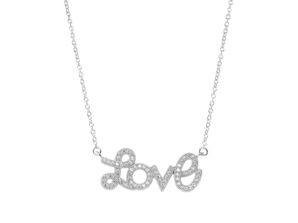 Pave Love Script Necklace in Rhodium Spocket App