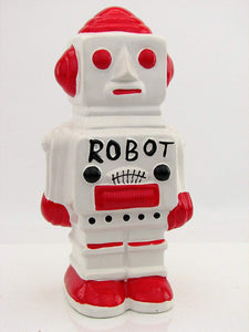 Rocket Retro-Robot Savings Bank Figural Robot Red