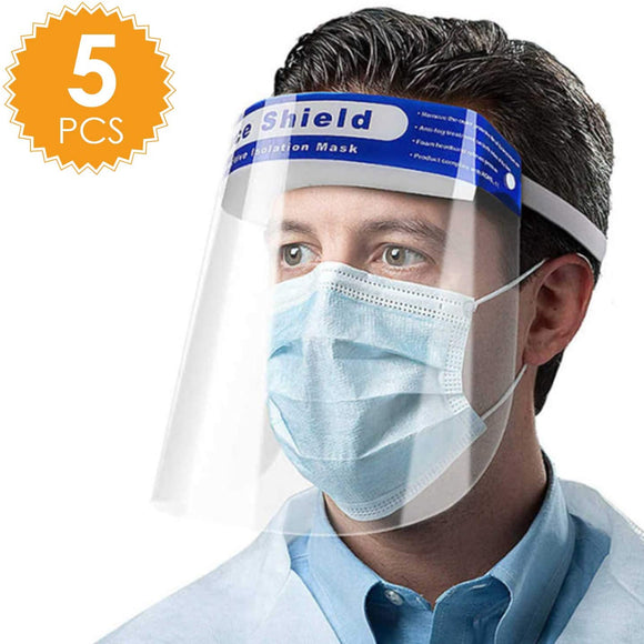 5 PACK Face Shields-Protective Facial Mask Safety Face Shield Anti-Pollution Clear Mask, Disposable