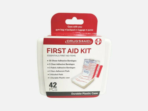 2 Travel Size First Aid Kit - 42 Pieces Each Box- With Plastic Case