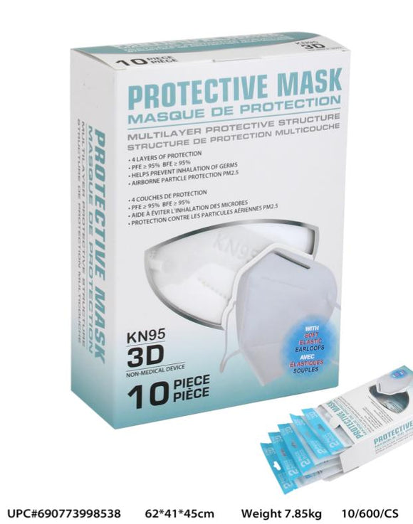 KN95 Respirator Protective Masks - 5 Layer Filter Protection - Ear Loop Non-Medical Face Mask (10 PCS)
