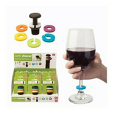 Party Stopper Bottle Stop  Wine Charm Set, Glass Markers Cork Bar Tool