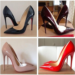 Women All-match Wedding High Heel Shoes Pointed Toe Solid Color Women Leather Pumps Red Bottom Women Super High Heels-114
