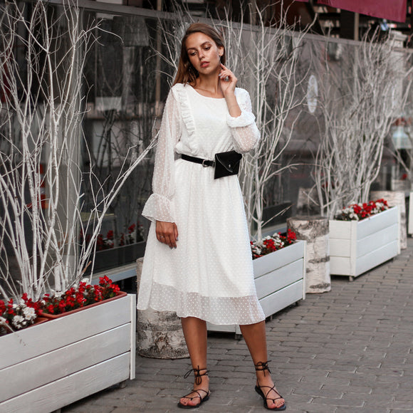 BGTEEVER Ruffles Polka Dot Women Chiffon Dress Elastic Waist Flare Sleeve Female Long Vestidos A-line White Dress 2019