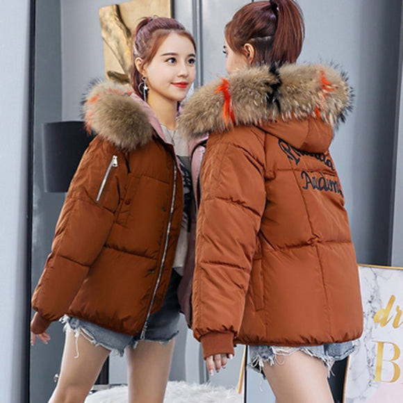 Brieuces Short Coats & Jackets Slim Women Parka Winter Fur Collar Hooded